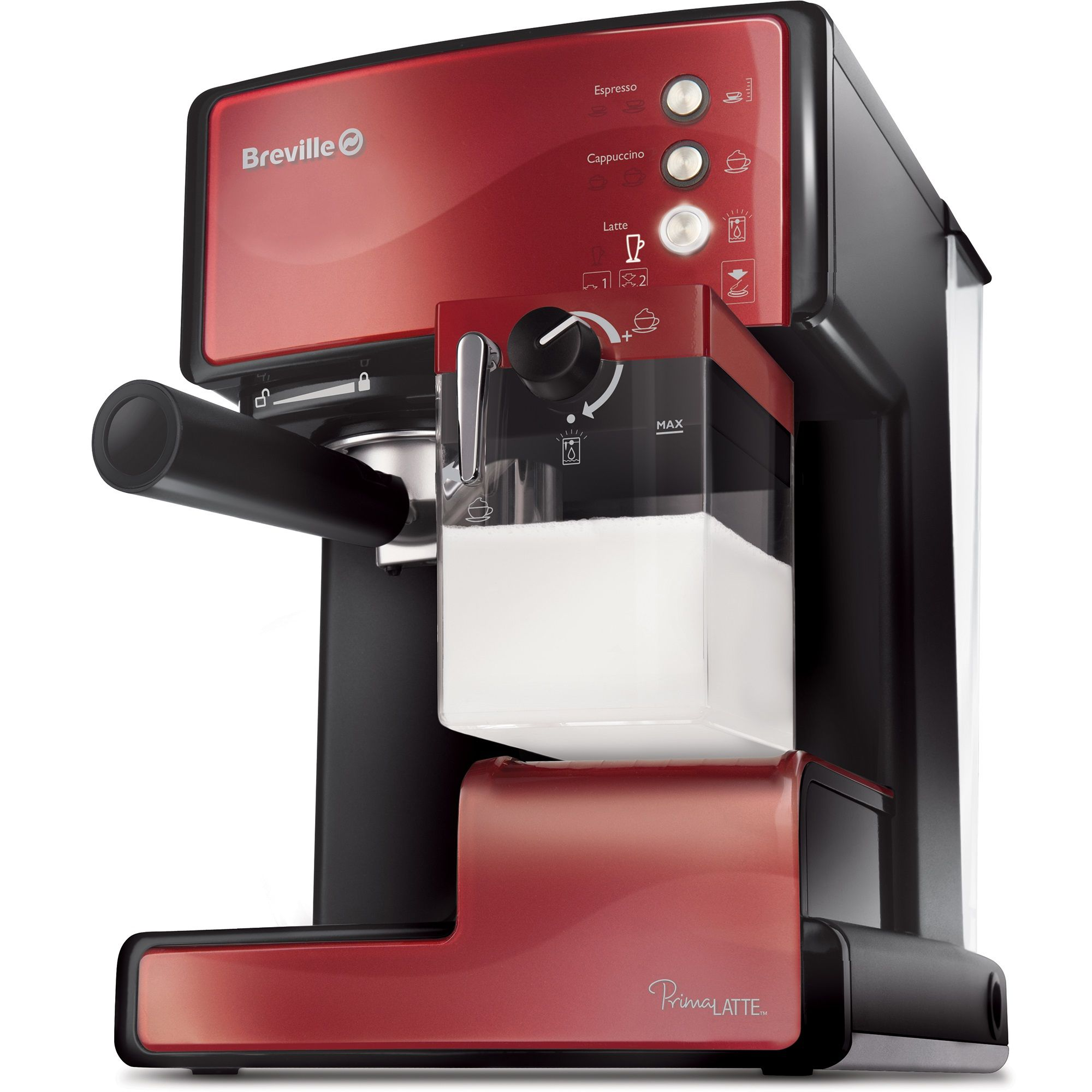 Еспресо машина Breville Prima Latte VCF046X-01, Функция разпенване на млякото, Функция Cappuccino, Самопочистване, 15 бара, 1.5 л, Съд за мляко 0.3 л, Тъмночервена